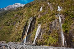 Bridal fall in Franz Josef Glacier park in New Zealand. Bridal fall along the way to Franz Josef Glacier viewpoint in New Zealand stock photo
