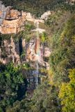 Bridal Veil Waterfall, Govetts Leap, Blue Mountains. Bridal Falls vertical panorama, Govetts Leap Lookout, Blackheath, Blue Mountains, New South Wales, Australia Royalty Free Stock Photos
