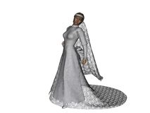 Bridal fashion 1. Lovely lady in her beautiful bridal gown.  3d models, computer generated render Stock Images