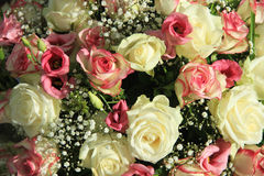 Bridal flower arrangement in pink and white Royalty Free Stock Images