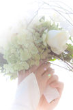 Bridal flowers. Beautiful bridal flowers in a womens hand Royalty Free Stock Images