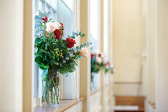 Bridal flowers in church stock photos