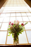 Bridal flowers in church Stock Photo
