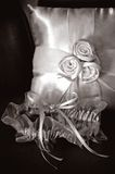 Bridal garter and ring bearer pillow Royalty Free Stock Images