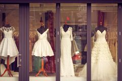 Bridal gowns in storefront