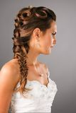 Bridal hairdo with a plate in studio. Bridal hairdo with a plate on studio neutral background stock photo