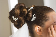 Bridal hairstyle close up. Stock Images