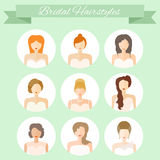 Bridal Hairstyle. Modern flat icons of wedding fashion. Young women with different hair cuts and hair dresses. Bridal vector Stock Photo