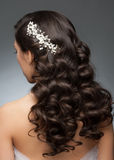 Bridal Hairstyle. Portrait of attractive young woman with beautiful bridal hairstyle and stylish hair accessory. Brunette with long curly hair, rear view Royalty Free Stock Images