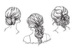 Free Bridal Hand Drawn Hairstyles, Vector Illustration Stock Photo - 136531910