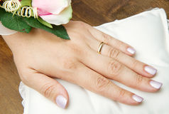 Bridal hands with wedding ring Stock Photo