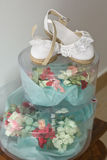 Bridal headdress and baby girl shoes Royalty Free Stock Image