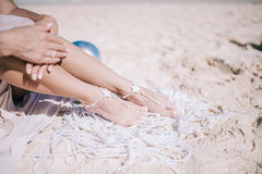 Bridal legs with Wedding feet jewelry . stock photography