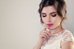 Bridal Makeup. Beautiful Young Woman Fiancee. With Hairstyle and Wedding Make up stock photography