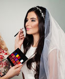 Bridal Makeup. Perfect Bride with Wedding Make up. Long Curly Hair and White Veil Stock Photos