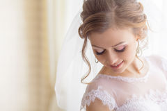 Bridal makeup wedding ceremony. Groom royalty free stock photos