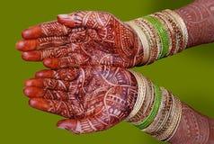 Bridal mehndi. Hands decorated with bridal mehndi Stock Photos