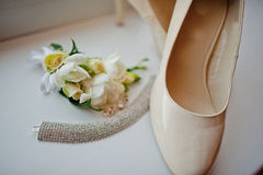 Bridal necklace earrings and shoes Stock Image