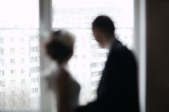 Bridal pair looking out the window Royalty Free Stock Photo