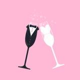 Bridal pary wina szkła Obrazy Royalty Free