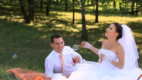 Bridal Picnic. Bride and groom on a picnic stock footage