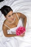 Bridal Portrait. Over black background stock photography