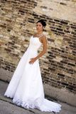 Bridal Portrait. Outdoor with brunette in wedding dress Stock Images