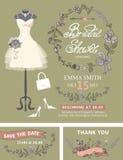Bridal prysznic zaproszenia set Bridal suknia, kwiecista ilustracja wektor