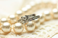Bridal rings on pearls Royalty Free Stock Image