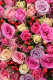 Bridal rose arrangement in various shades of pink Stock Photos
