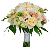 Bridal rose bouquet on their own stems Stock Image