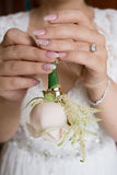 Bridal rose and ringed hand. Royalty Free Stock Photography