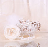Bridal rose with wedding beads Royalty Free Stock Images