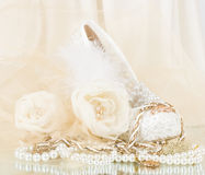 Bridal rose with wedding shoe and beads Royalty Free Stock Photo