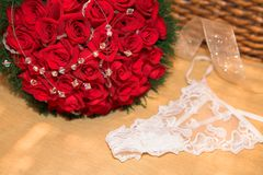 Bridal roses and underwear Stock Image