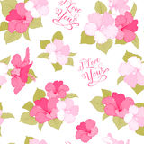 Bridal seamless pattern. With exotic flowers and romantic sign. I love you text. Vector illustration Royalty Free Stock Photography