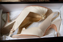 Bridal shoes. Close up of bridal shoes in box Stock Photos