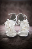 Bridal Shoes. Soft-focus image of beautiful white bridal shoes Stock Photography