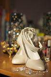 The bridal shoes. On a beautiful background Stock Images