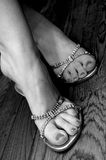 Bridal Shoes. A bride's shoes and feet royalty free stock photo