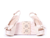 Bridal shoes, bag Stock Image