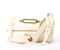 Bridal shoes, bag and beads Stock Image