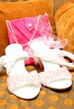 Bridal shoes with beads and bag Stock Images