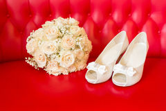 Bridal shoes. Beautiful white shoes from bride Royalty Free Stock Images