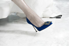 Bridal Shoes on Bride Royalty Free Stock Photography