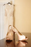 Bridal Shoes and Gown Royalty Free Stock Photos