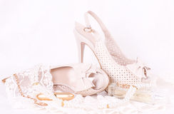 Bridal shoes, lace and beads Royalty Free Stock Photo