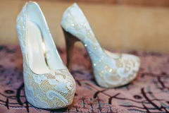 Bridal shoes. White shoe of the Bride . wedding Royalty Free Stock Photography