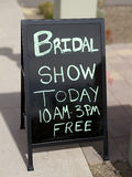 Bridal Show Today Sign. Sidewalk sign for bridal show today stock photos