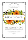 Bridal shower autumn vector Invitation card design with orange y. Ellow sunflower gerbera flowers, fall leaves, thistle berries green leaf herb mix, text copy Royalty Free Stock Photo